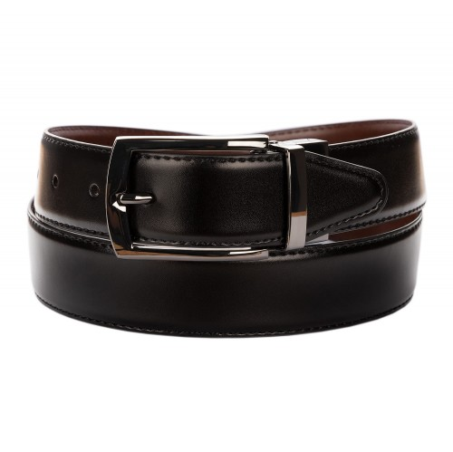 BELT ZK1810B 3,5 CM BLACK/BROWN BLACK NICKEL