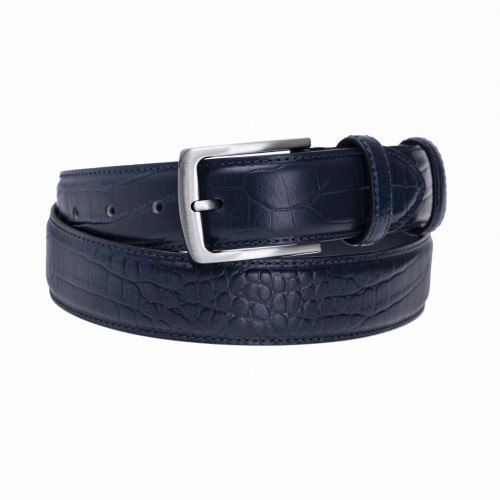 BELT ZKAL02 E 3,5 CM NAVY BLACK NICKEL BRUSHED